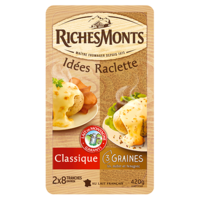 RICHES MONTS FROMAGE RACLETTE TRANCHETTES DUO NATURE-GRAINES 420G