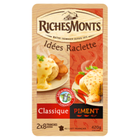 RICHES MONTS FROMAGE RACLETTE TRANCHETTES DUO NATURE-PIMENT 420G