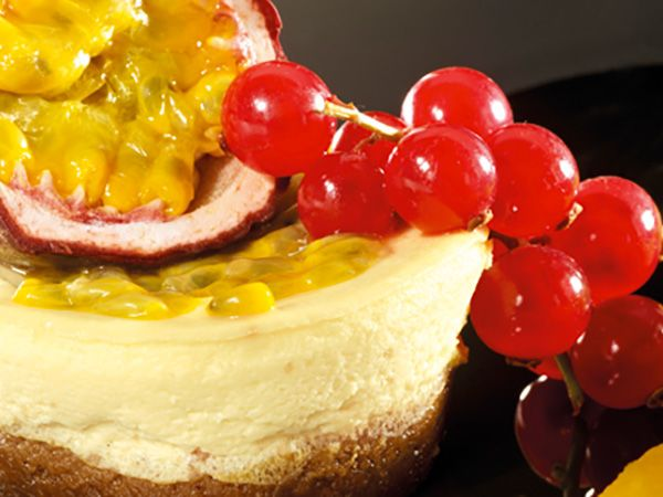 Recette : Cheesecake mangue, passion & fromage frais - Recette au fromage